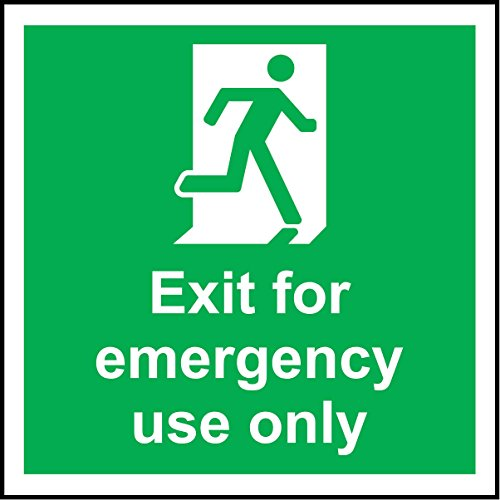 Exit For Emergency Use Only Safety sign - Self adhesive sticker 150mm x 150mm from KPCM Display