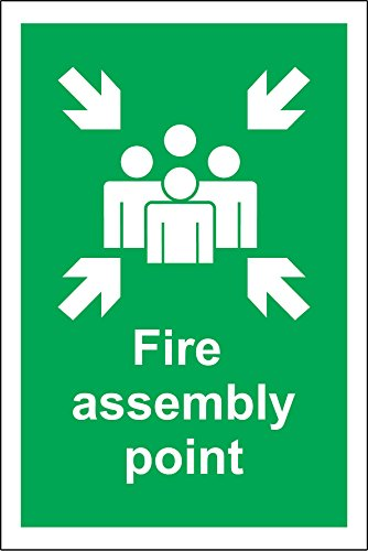FIRE ASSEMBLY POINT - HEALTH AND SAFETY SIGN - 600mm x 400mm 3mm Aluminium Composite ultra hi-durability sign from KPCM Display