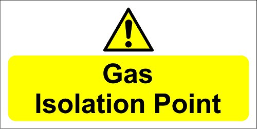 Gas isolation point sign - Self adhesive sticker 200mm x 100mm from KPCM Display