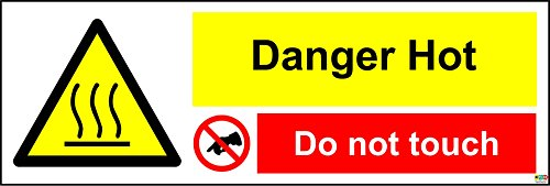 Hot Surface. Do Not Touch sign - Self adhesive sticker 300mm x 100mm from KPCM Display
