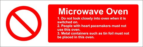 Hygiene catering Microwave Oven safety sign - Self adhesive sticker 150mm x 50mm from KPCM Display