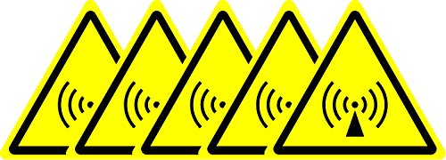 ISO Safety Sign - Warning Non-ionizing radiation Symbol - Self adhesive stickers 100mm x 100mm (PACK OF 5 STICKERS) from KPCM Display