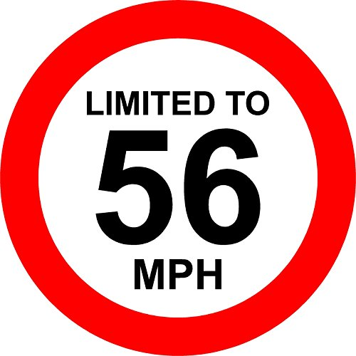 Limited To 56 MPH Vehicle Speed Limit Sign - Self adhesive sticker 150mm x 150mm from KPCM Display