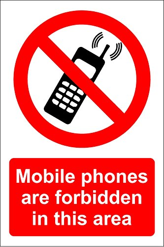 Mobile phones are forbidden in this area sign - Self adhesive vinyl 300mm x 200mm from KPCM Display