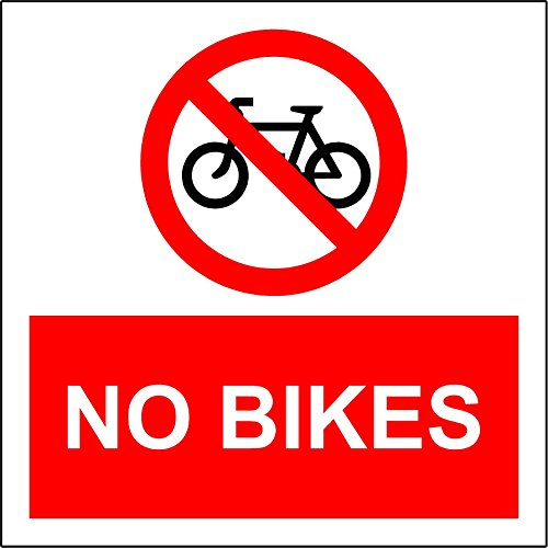 No bikes safety sign notice sign - 1.2mm rigid plastic 150mm x 150mm from KPCM Display