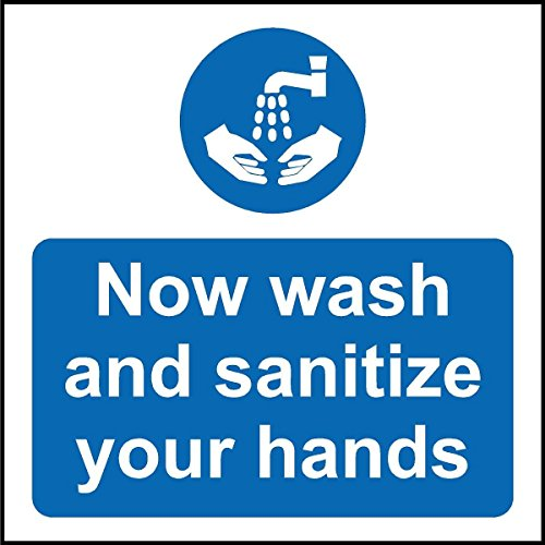 Now wash and sanatize your hands - Self adhesive sticker 100mm x 100mm from KPCM Display