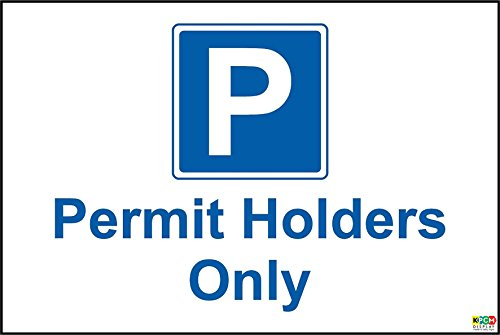 Permit Holders Only Car Park Sign - 1.2mm rigid plastic 300mm x 200mm from KPCM Display