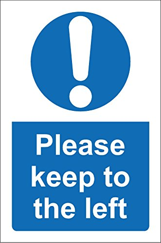 Please Keep To The Left school Sign - 1.2mm rigid plastic 300mm x 200mm from KPCM Display