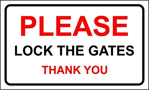 Please Lock The Gates Thank You Small Size House Garden Sign 200mm x 90mm from KPCM Display