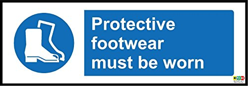 Protective footwear must be worn safety sign - 1.2mm rigid plastic 300mm x 100mm from KPCM Display