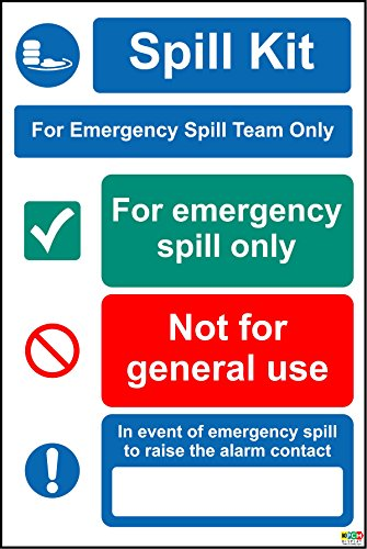 Spill Kit For Emergency Spill Team Only Sign - Self adhesive sticker 200mm x 150mm from KPCM Display