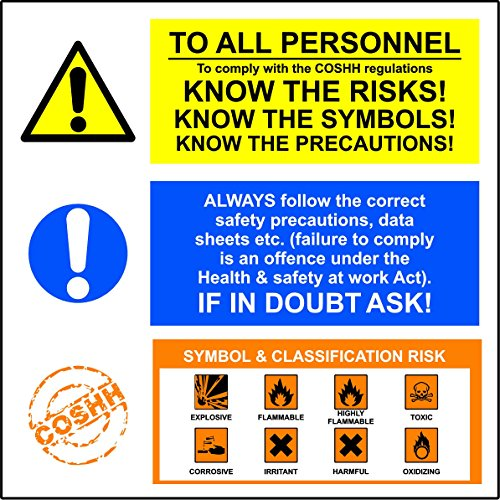 TO ALL PERSONNEL. To comply with COSHH regulations. KNOW THE RISKS! KNOW THE SYM - Warning Sign Self adhesive vinyl 200mm x 200mm from KPCM Display