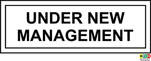 Under New Management Sign - Self adhesive vinyl 300mm x 100mm from KPCM Display