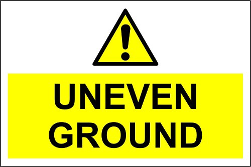 Uneven Ground sign - Self adhesive sticker 300mm x 200mm from KPCM Display