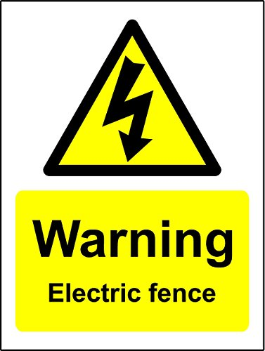 WARNING ELECTRIC FENCE SIGN - 1.2mm rigid plastic 200mm x 150mm from KPCM Display