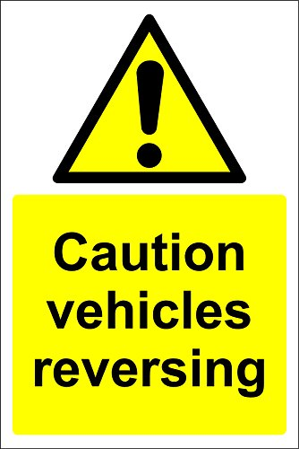 Warning Caution vehicles reversing safety sign - 1.2mm rigid plastic 400mm x 300mm from KPCM Display