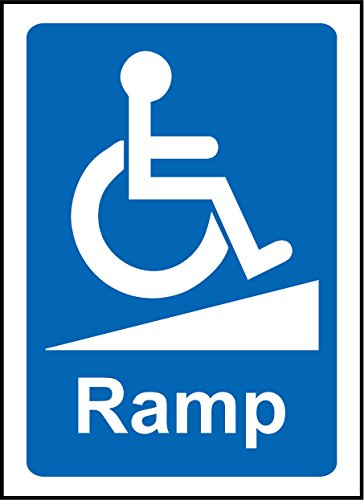 Wheelchair Ramp Notice Sign Disabled sign - Self adhesive sticker 300mm x 200mm from KPCM Display