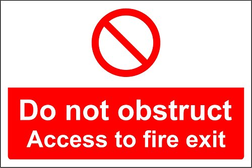 escape route keep clear Do not obstruct access to fire exit safety sign - Self adhesive sticker 300mm x 200mm from KPCM Display