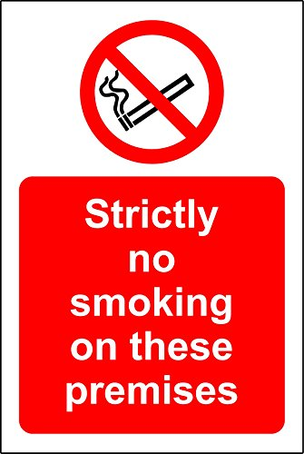 strictly no smoking on these premises sign - 1.2mm rigid plastic 300mm x 200mm from KPCM Display