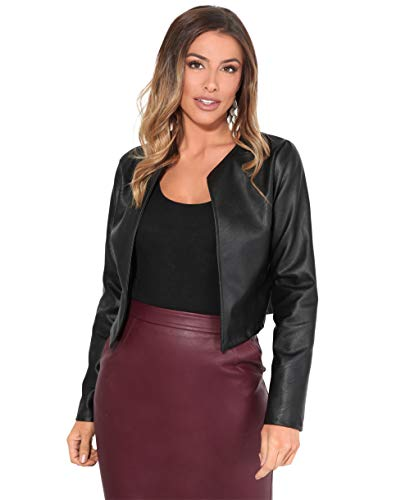 4432-BLK-M: PU Cropped Open Style Jacket Black from KRISP