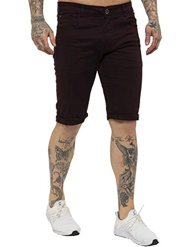 Kruze Mens Chino Shorts Branded Designer Jeans Casual Blue Black Red Tan, BNWT 44 Burgundy from Kruze