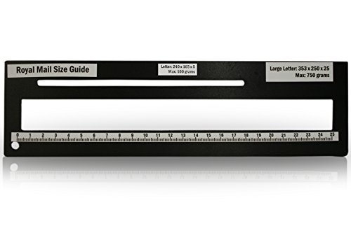 Royal Mail PPI Letter Size Guide Ruler Post Office Postal Price Postage. (Black) from KSM Brand
