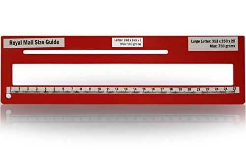 Royal Mail PPI Letter Size Guide Ruler Post Office Postal Price Postage. (Red) from KSM Brand