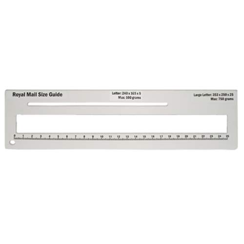 Royal Mail PPI Letter Size Guide Ruler Post Office Postal Price Postage. (White) from KSM Brand