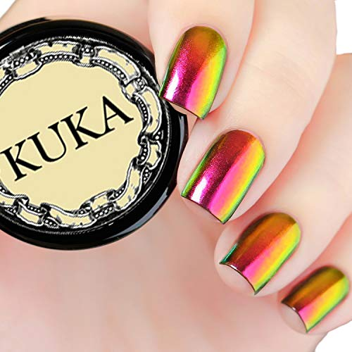 KUKA Chameleon Pigment Nail Changing Mirror Chrome Powder Art Glitter Dust Shine Manicure (Rose Gold) from KUKA