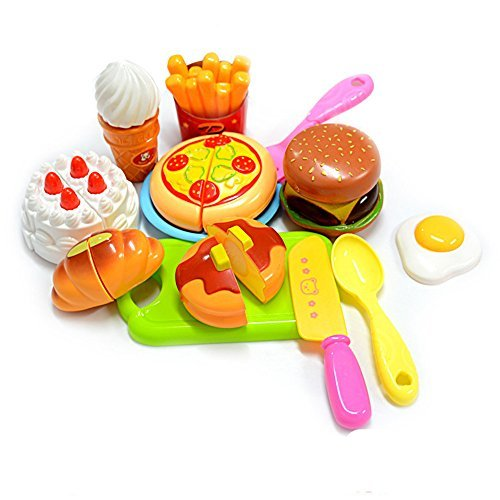 Cutting Toy Set Kids Educational Toys 13pcs Plastic Children Kids Cutting Birthday Party Kitchen Food Pretend Play from KUNEN