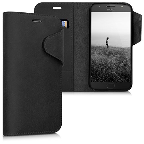 kalibri Genuine Leather Wallet Case for Motorola Moto G5S Plus - Case with pocket and stand in black from Kalibri