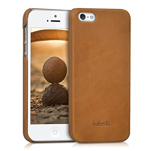 kalibri Real leather back cover case for Apple iPhone SE / 5 / 5S - Leather case cover protection case in cognac from Kalibri