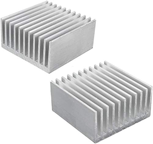 Aluminum Chipset Heatsink Radiator Heat Sink Cooling Fin Silver for CPU LED Power Active Component 40 x 40 x 20mm (2 Pcs) -Kalolary from Kalolary