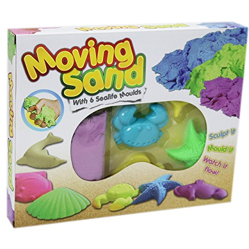 Moving Sand Sculpture Kit with 6 Sea life Creatures Moulds Kids Children Fun Game by KandyToys from KandyToys