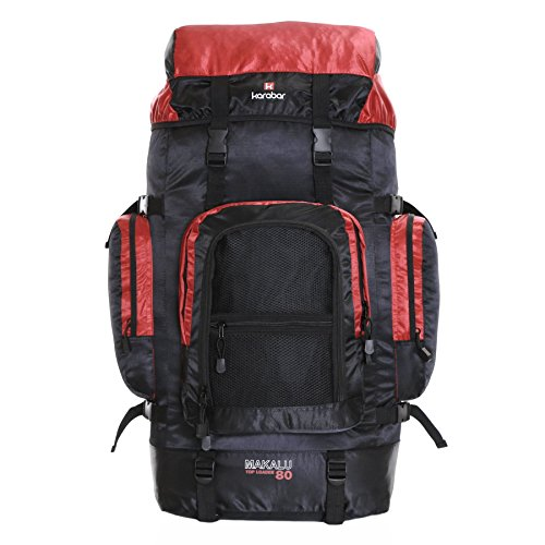 Karabar Extra Large Travel Hiking Backpack Rucksack Bag XL 80 litres 77 cm 1.3 kg, Makalu Black & Red from Karabar