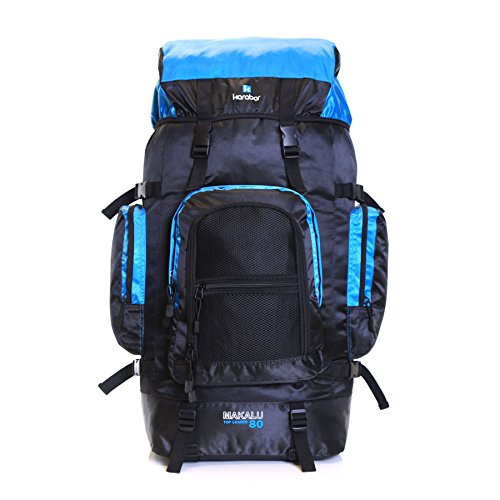 Karabar Extra Large Travel Hiking Backpack Rucksack Bag XL 80 litres 77 cm 1.3 kg, Makalu Black & Light Blue from Karabar