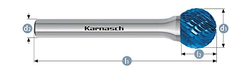 Karnasch 115031.085 12mm Ball Shape Blue Tec Coated Carbide Burr Cross Cut  KUD from Karnasch