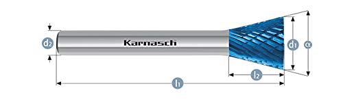 Karnasch 115096.015 6mm Inverted Cone Shape Blue Tec Coated Carbide Burr Cross Cut  WKN from Karnasch