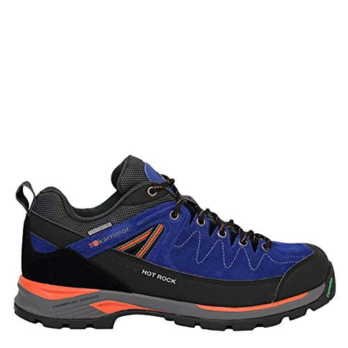 Karrimor Mens Hot Rock Low Walking Shoes Waterproof Lace Up Padded Ankle Collar Blue/Orange UK 7 (41) from Karrimor