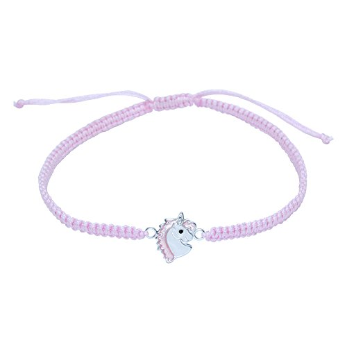 Pink Unicorn Bracelet - Sterling Silver on Cord Gift from Katy Craig