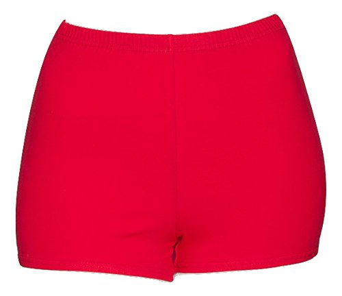 Ladies Girls All Colours Dance Gym Fitness Sports Hot Pants Shorts KHPC-5 By Katz Dancewear (Red, Ladies UK 8-10 Katz 3) from Katz Dancewear