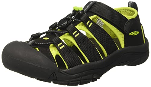 Keen Unisex Kids Newport H2 Hiking Sandals, Black (Black/Lime Green), 1 UK (34 EU) from Keen