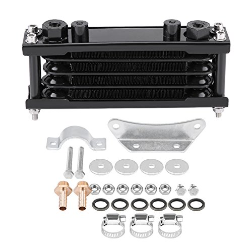 Universal Engine Oil Cooler Kit Motorcycle Oil Cooler Cooling Radiator for Motorbike Dirt Bike 50CC-200CC(Black) from Keenso