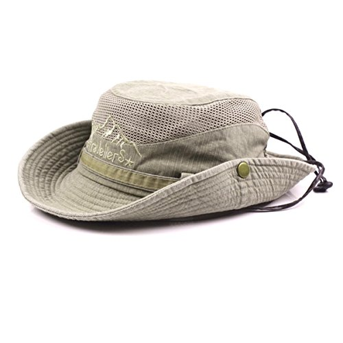 KeepSa Cotton Sun Hat UV Protection Summer Hats Beach Hat Safari Boonie Hat Foldable Fishsing Hat with Breathable Mesh and Adjustable Chin Strap from KeepSa