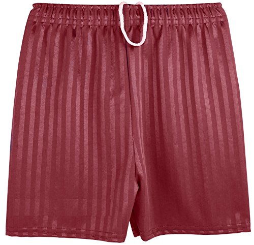 Boys Girls Unisex Shadow Stripe Gym Sports Football Games School PE Shorts (Medium (5-6 Years), Maroon) from Kentex Online