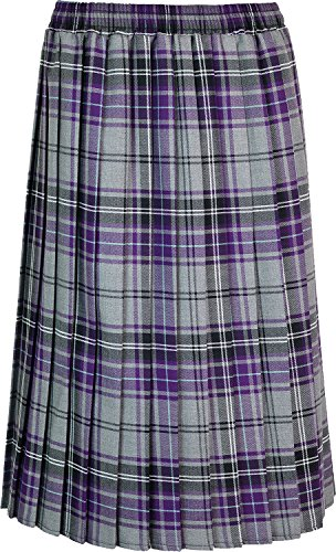 Womens Long Pleated Skirt Tartan Check Ladies Stretch Box Pleat Elasticated Waist Waistband Skirts (Large (16-18), Grey Purple) from Kentex Online