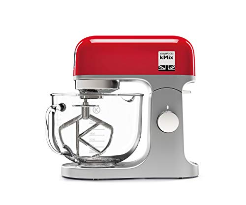 Kenwood kMix Stand Mixer for Baking, Stylish Kitchen Mixer with K-beater, Dough Hook and Whisk, 5 Litre Glass Bowl, Removable Splash Guard, 1000 W, Red from Kenwood