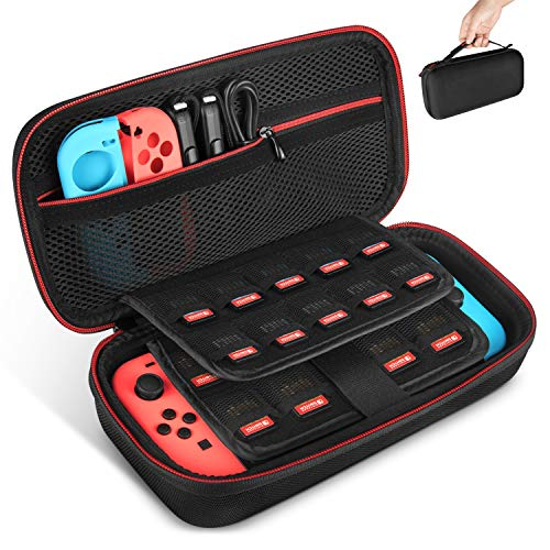 Nintendo Switch Case, Keten Upgraded Version Nintendo Switch Travel Carry Case with 19 Games Cartridge Holders for Nintendo Switch Console, Games, Joy-Con and Other Nintendo Switch Accessories from Keten