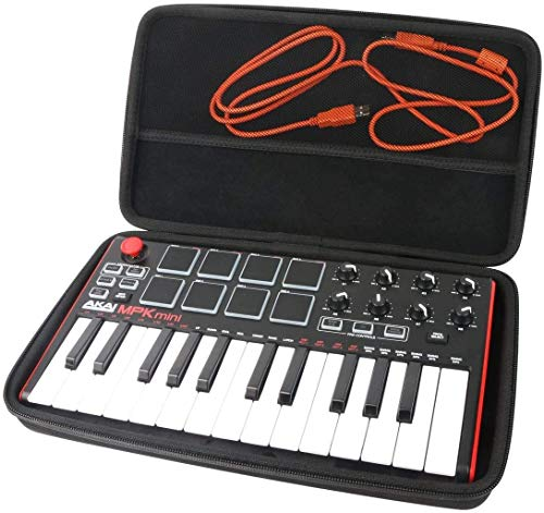 Khanka EVA Hard Case Carrying Travel Bag For AKAI Professional MPK Mini MKII Portable USB MIDI Keyboard. (All Black) from Khanka