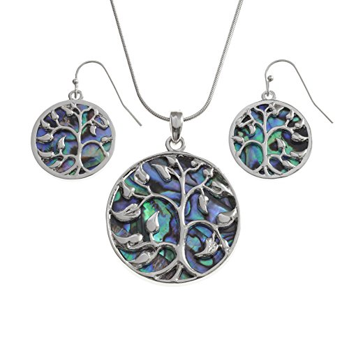 "Kiara Jewellery Boxed Set of Reversible Celtic Tree Of Life Pendant on 18"" Snake Chain Inlaid Both Sides With Bluish Green Paua Abalone Shell With Matching Hypoallergenic Earrings. Rhodium Plated. from Kiara Jewellery"